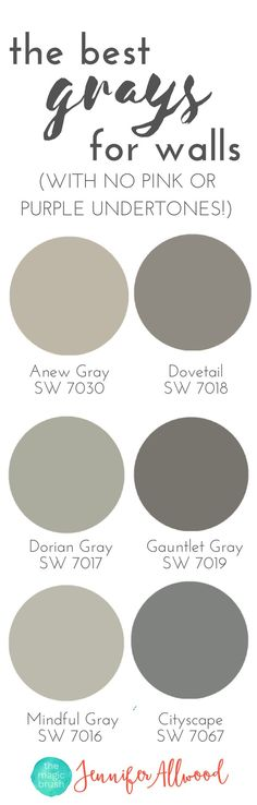 the best Gray Paint Colors for walls with no pink or purple undertones Magic Brush Jennifer Allwood's Top 50 Wall Paint Colors Paint Color Ideas Interior Paint Colors Best Paint Colors for Living Rooms