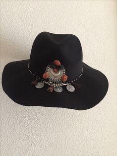 #bohemian#handmade#coins#hat#black#Ibiza#pompons