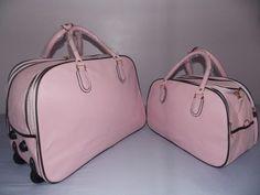 kit 2 bolsas de viagem estpda ou lisa feminina c/ rodinhas