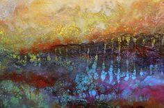 Detail of Vibrant Valley original encaustic art by John Metz
