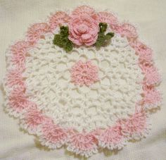 pink rose  lace crocheted spring doily by Aeshagirl