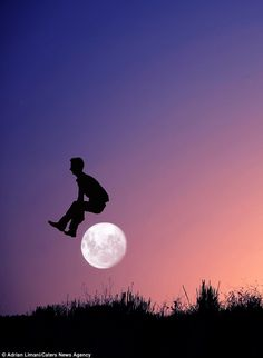 It's lunar-cy! Photographer Adrian Limani gets his brother to leap 'over' the moon - via Daily Mail
