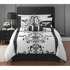 @Overstock.com.com - Elegance has never been as simply stated as in this beautiful collection. Inexpensive and convenient, the black and white damask comforter decorates the bedroom with style.http://www.overstock.com/Bedding-Bath/Camille-7-piece-Comforter-Set/7604424/product.html?CID=214117 $67.49