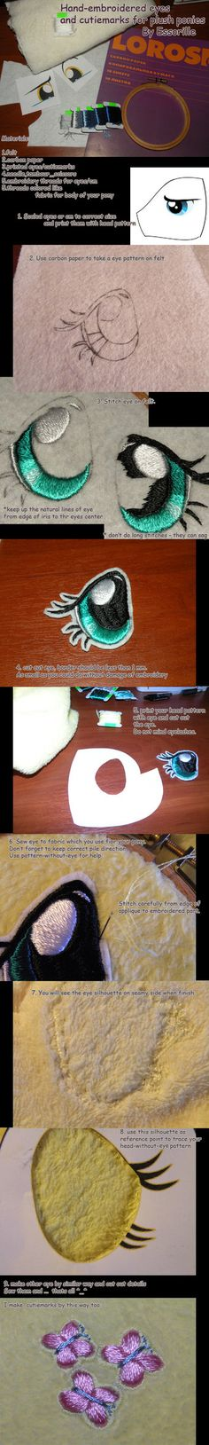 Sewing Animals Projects hand-embroidered plush eyes tutorial by *Essorille , How to Embroider My Little Pony Eyes, My Little Pony Plushie Tutorial , Animal Plushies, Softies Sewing Tutorials, Sewing Crafts, Sewing Patterns, Sewing Diy, Diy Crafts, Diy Art Projects, Sewing Projects, Plushie Patterns, Stuffed Animal Patterns
