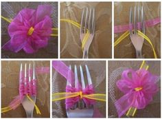 Tie A Beautiful Tiny Bow Using A Fork