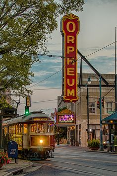 Orpheum a trolley passing the Orpheum theatre in downtown Memphis Tennessee, near beale st