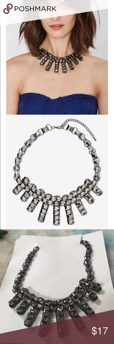 """#1240 nasty gal  Night Fever Necklace is made in reflective charcoal rhinestones and features radiating strand silhouette. Adjustable clasp closure. We love it with everything from a bodycon to a bathing suit.  *Synthetic Materials  * 8""""/20cm length  *Imported Nasty Gal Jewelry Necklaces"""