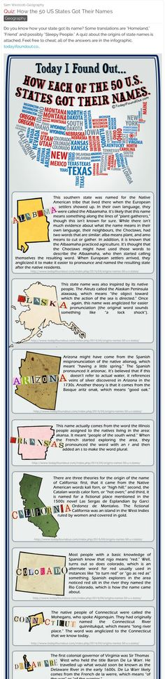 How the 50 US States Got Their Names – Here's a fun online quiz that you can use with your students. Post it to a private audience by using email addresses. #history #geography #socialstudies Read More Source: – sarahwhitaker13 Related