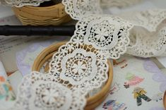 vintage lace fabric trim in cream natural cotton lace by lacetime, $2.99