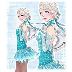 Skating Sport Elsa Disney&DreamWorks high ❤ liked on Polyvore featuring disney