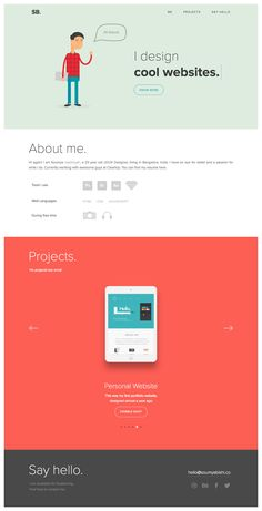 """One Page portfolio for Indian UI/UX designer, 'Soumya Ranjan Bishi'. Take note of the subtle bounce transition as you click the """"know more"""" button - these little touches really add love to a simple portfolio."""
