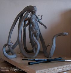 Mind's Eye Sketch - The art of Ryan Firchau: Search results for medusa Easy Clay Sculptures, Sculpture Clay, Creature Concept Art, Creature Design, Fantasy Creatures, Mythical Creatures, 3d Figures, Modelos 3d, 3d Fantasy