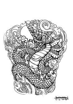 Cambodian Tattoo, Khmer Tattoo, Cambodian Art, Thai Tattoo, Dragon Koi Tattoo Design, Dragon Tattoo Leg, Dragon Tattoos For Men, Thailand Tattoo, Thailand Art