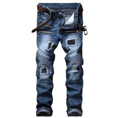 Men Jeans Designer Destroyed Straight Clubwear Nature Park Center Ripped