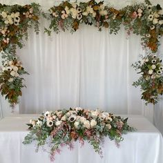 bridal table setting and arbor