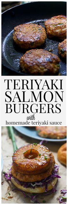 Teriyaki Salmon Burgers (With EASY homemade teriyaki sauce!)