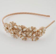 champagne headband plastic gold flower girl by SummerBloomKids