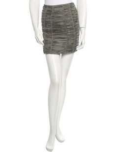 Grey Burberry silk skirt with ruched details throughout and hidden zip closure at side featuring hook at top.