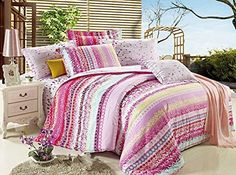 Girl's Hot Pink Cute Polka Dot Print 100% Cotton Comforter Duvet Cover Set King Size, 4 Pieces *** You can find more details by visiting the image link.