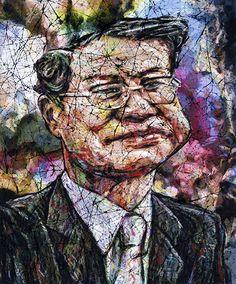 YiPyung Kim 김이평 // 'Portrait of Jung, Jung Gil' '정정길의 초상' // 84x100cm, Reactive dye, Acid dye, Silk, 2014