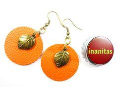 Echt (Glatt-) Leder Ohrhänger in Orange.