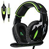 [2017 New Released SUPSOO New Xbox one PS4 Gaming Headset]SUPSOO G813 3.5mm wired Gaming Headset with Microphone Noise Isolating Volume Control Gaming Headphones for Xbox One /PC /Mac/PS4/Table/Phone(Black&Green)