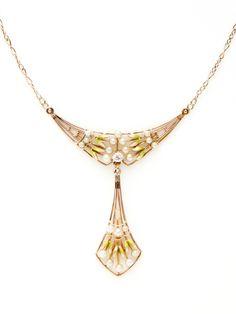 Ca. 1920's Seed Pearl & Diamond Geometric Pendant Necklace by Tara Compton at Gilt