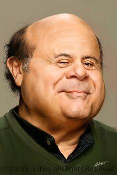 Danny Devito: Art by Carlos Rubio Funny Caricatures, Celebrity Caricatures, Celebrity Drawings, Celebrity Pictures, Cartoon Faces, Funny Faces, Funny Art, The Funny, Create A Comic