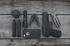 "edcplanet: ""- One Surefire P2ZX Fury - Six batteries (123A) held in battery container - One Leatherman Wave, Black - One Benchmade Adamas, FDE - One Mobile Phone - One Sig Sauer P226 MK25 - Two spare..."