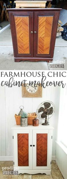 Chic Cabinet ~ Get the Look DIY Style Get the Modern Farmhouse Chic Look with these Simple Steps Outlined by Prodigal Pieces Farmhouse Side Table, Farmhouse Chic, Farmhouse Windows, Diy On A Budget, Decorating On A Budget, Furniture Makeover, Diy Furniture, Street Furniture, Wooden Bathroom