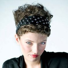 Studded Headband in Black Suede  FREE SHIPMENT by absolutequeen