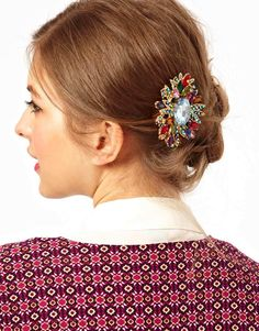 ASOS | ASOS Statement Multi Stone Burst Hair Brooch at ASOS