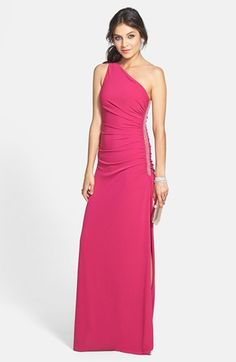Gorgeous! Laundry by Shelli Segal Beaded Panel One-Shoulder Jersey Gown available at #Nordstrom
