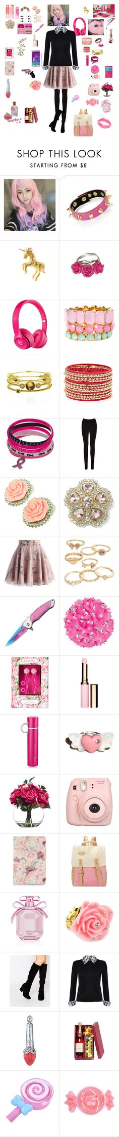 """""""my friend lolita-sarif    """" by roxiebolden ❤ liked on Polyvore featuring Clair Beauty, Swesky, Apple, Pink Mascara, Cara Couture, Maybelline, Hunkydory, Oasis, Kate Marie and Monet"""