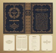Vintage book layouts and design Vector Travel Book Layout, Book Design Layout, Book Cover Design, Book Layouts, Gothic Books, Menu Book, Buch Design, Book Posters, Vintage Books