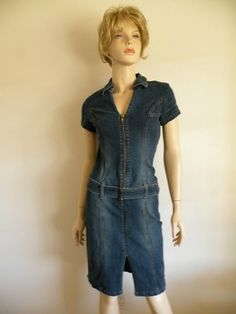 Vtg 90s 80s Boho Curve Hugging Jean Denim Belted Deep V Zippered Mini Dress Sz S  $24.95  Vintage Clothing & Fashion Finds