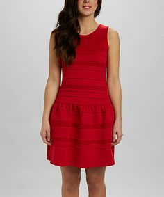Look what I found on #zulily! Red Pleated Drop-Waist Dress by Julia Jordan #zulilyfinds
