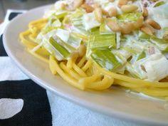 Pasta met romige prei Met dit recept kun je eindeloos varieren. Bijna alle soorten ham of spek zijn hierbij te gebruiken. Ook champignons of andere paddestoelen gaan goed samen met deze preisaus.