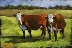 """What Are You Looking At?"" - oil painting by Amy P. Collins #cows #field #painting #nature #outdoors #animals #family"