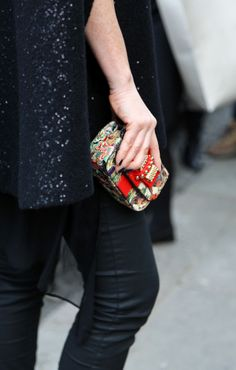 Printed louboutin mini #bag Street Style atSpring Summer 2014Paris Couture