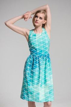 Aquaplex Blue Fit & Flare Dress - Available in custom sizes or design your own dress at MyWearStore.com