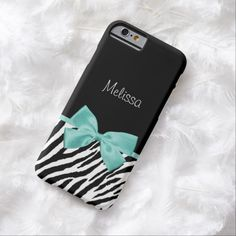 A trendy black and white zebra print slim #iPhone6case with a girly aqua mint ribbon tied into a cute bow. Personalize this chic and stylish animal print fashion accessory by adding your name to the custom text area. Flat printed image, not actual ribbon.