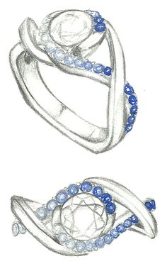 Mark Schneider Design - sketch of Scintillate engagement ring customized with sapphires accents graduating from light to dark