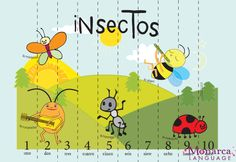 Los insectos! Just print in card stock white paper and laminate.