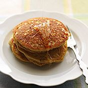 These fat-free vegan pancakes are kissed by the sweetness of orange juice and lightly spiced with cinnamon, nutmeg, and cloves.