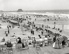 "The Jersey Shore circa 1908. ""Atlantic City boardwalk and bathing beach."""