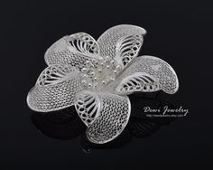 Sterling Silver Filigree Spinning Flower Ceplok by DewiJewelry