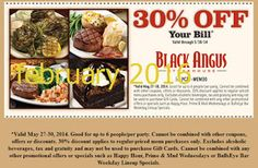 Black Angus coupons & Black Angus promo code inside The Coupons App. off the tab at Black Angus Steakhouse March Dollar General Couponing, Coupons For Boyfriend, Coupon Stockpile, Free Printable Coupons, Love Coupons, Grocery Coupons, Extreme Couponing, Coupon Organization, Printables