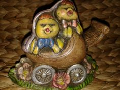 Two Chicks in A Carriage Figurine by RobandJensOddsnEnds on Etsy, $8.00