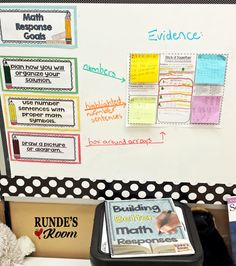 """Post an evidence piece of student work alongside mastered learning goals. A great motivator for students to really """"show what they know"""" to get their work chosen as the evidence piece. This picture shows the """"Building Better Responses"""" learning goals with the """"Stick-It-Together"""" evidence piece."""